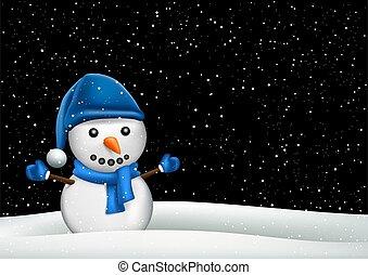 inverno, pupazzo di neve, snowdrift