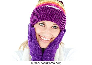 inverno, radiante, boné, luvas, mulher, jovem