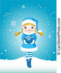 inverno, ragazza, in, neve