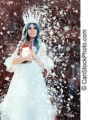 inverno, rainha, neve, fantasia, segurando, espelho