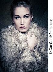 inverno, retrato mulher