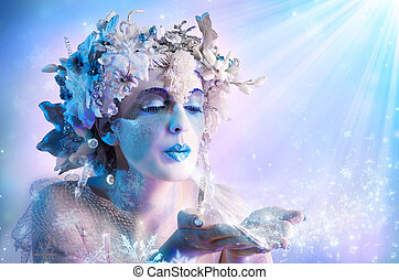 inverno, ritratto, soffiando, fiocchi neve