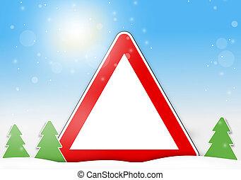 inverno, rosso, segno