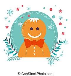 inverno, símbolo, personagem, biscoito, gingerbread, feriado, natal, homem