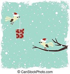 inverno, scheda, con, uccelli, e, scatola regalo