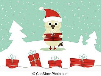 inverno, scheda, con, uccello, e, scatole regalo