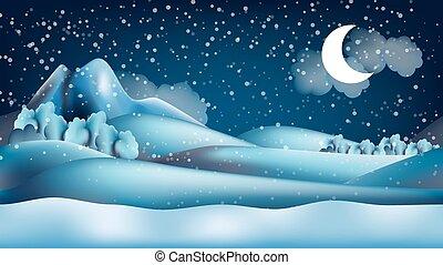 inverno, seamless, parallasse, fondo, ripetere, cartone animato, paesaggio
