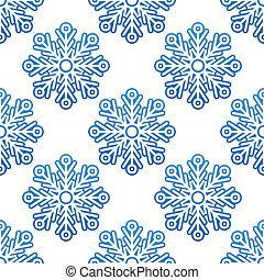 inverno, semless, modello, con, blu, fiocchi neve