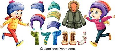 inverno, set, bambini, vestiti