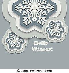inverno, shadow., papel, fundo, olá, snowflakes
