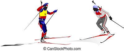 inverno, silhouettes., ilustração, biathlon., vetorial, desporto