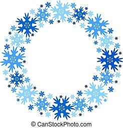 inverno, snowflakes., quadro, isolated., vetorial, redondo