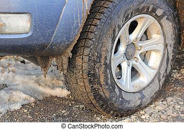 inverno, sporcizia, automobile, neve, ghiaccio, pneumatici, strada