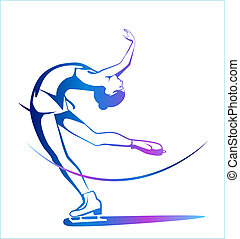 inverno, sport., senhoras, figura, skating., gelo, show.