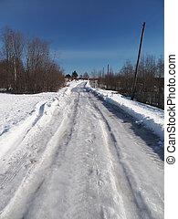 inverno, strada, villaggio