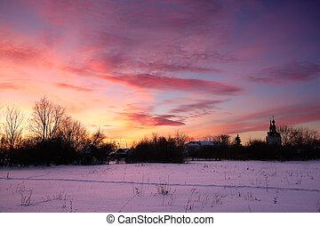 inverno, tramonto