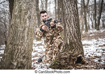 inverno, trooper, executar, treinado, militar, durante, operação, guerra