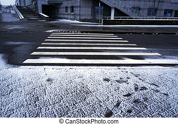 inverno, urbano, crosswalk., scene.