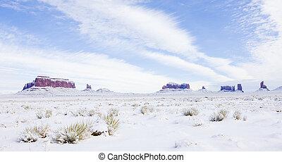 inverno, utah-arizona, stati uniti, parco nazionale, valle monumento