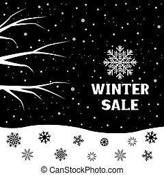 inverno, venda, ramo, neve