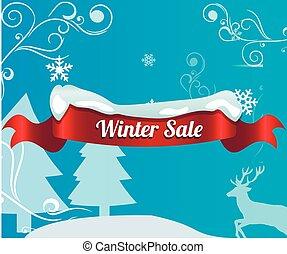 inverno, venda, realístico, experiência vermelha, bandeira, fita