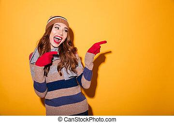 inverno, vestido, alegre, retrato, menina, roupas