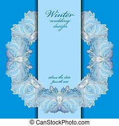 inverno, vetro, congelato, testo, cornice, ghirlanda, fondo., matrimonio, place., design.