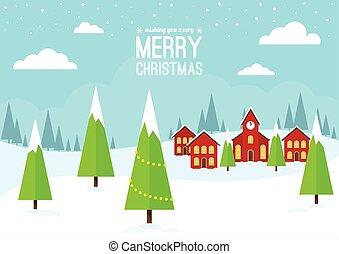 inverno, villaggio, Natale, scena