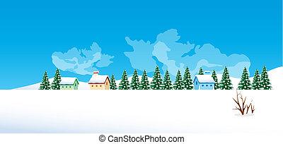 inverno, villaggio, paesaggio