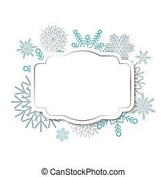 inverno, vindima, snowflakes, fundo, etiqueta