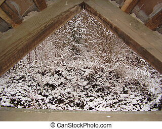 inverno, vista, attraverso, uno, finestra