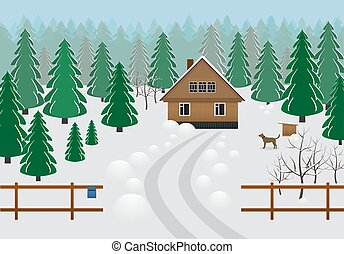 inverno, zona, casa legno, rustico, foresta