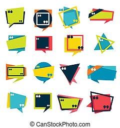 inversé, icônes, parole, citation, isolé, bulles, comas,...