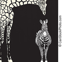 Inverse animal camouflage - vector illustration of zebra and...