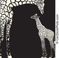 vector illustration of Giraffe mother with cub on a black background