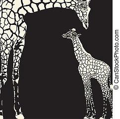 inverse, maskování, žirafa, animální