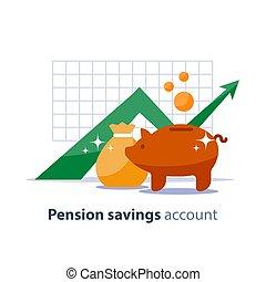 inversión, banco, superannuation, finanzas, ilustración, ...