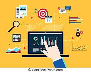 inversión, concepto, financiero, analytics, informe,...