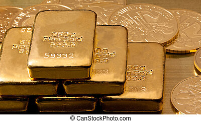 inversión, en, verdadero, oro, que, oro barras, y, monedas...
