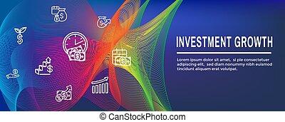 inversiones, dólar, crecimiento, -, banca, símbolos, icono, conjunto, etc