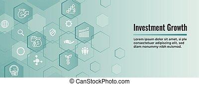 inversiones, dólar, crecimiento, icono, -, conjunto, banca, etc, símbolos