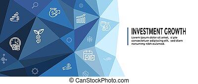 inversiones, icono, crecimiento, conjunto, banca, dólar, etc, -, símbolos
