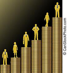 inversionistas, moneda de oro, pila, gráfico, riqueza, ...