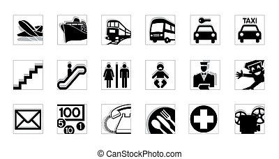 invert, bw, dienst, iconen