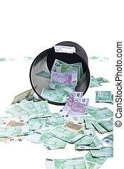 inverted basket of money isolated on white