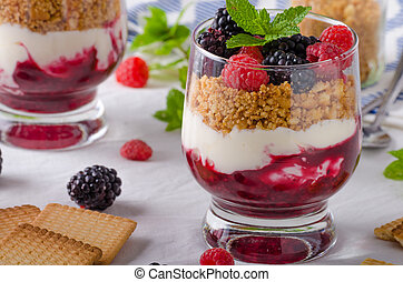 Inverted cheesecake in glass with forest fruit and delicious...