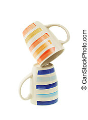 Coffee mugs - Inverted Coffee mugs on white background