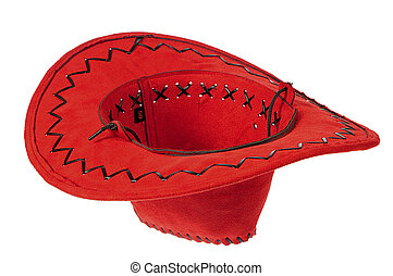 Inverted red cowboy hat as a original flower plant pots or container for charity white background.