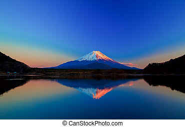 Inverted image of Mount Fuji at sunrise
