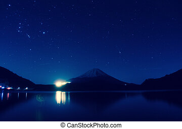 Inverted image of Mt. Fuji at night